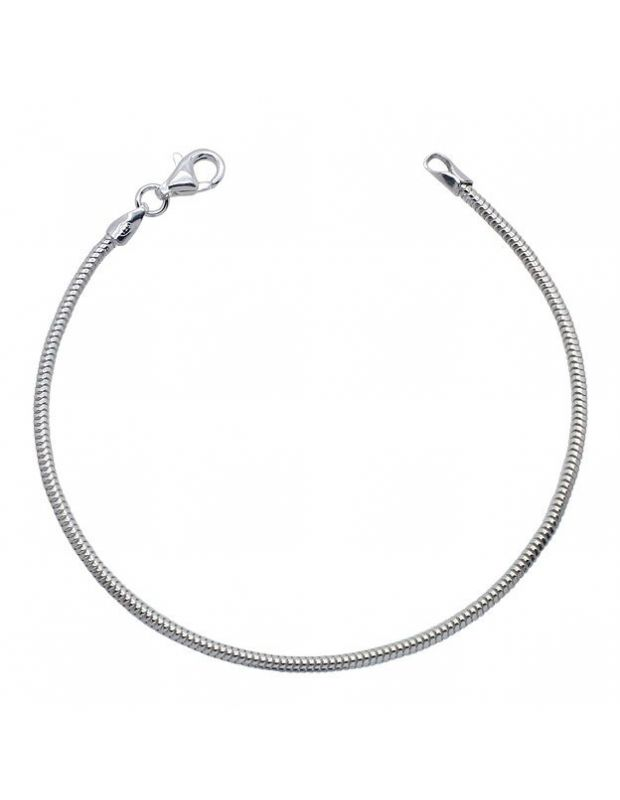 Sterling Silver 1.9mm Real Snake link bracelet with lobster clasp - Click to magnify
