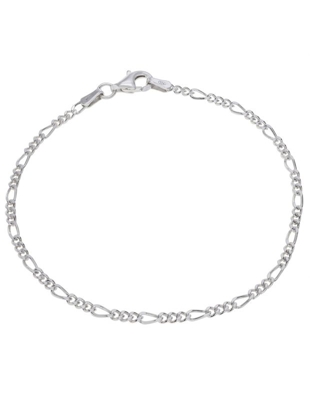 Sterling Silver 2.1mm diamond cut Figaro link bracelet with lobster clasp - Click to magnify