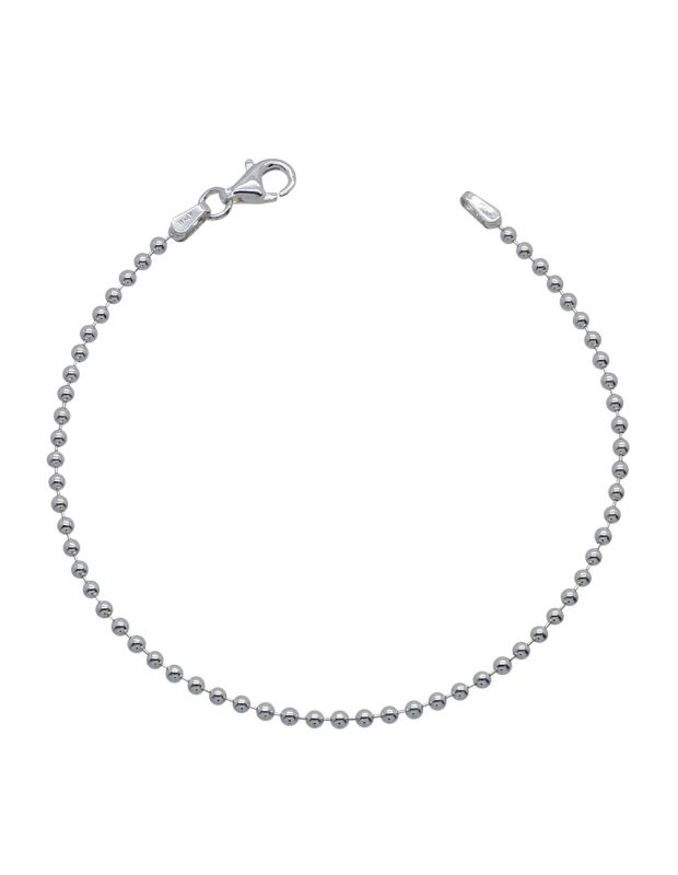Sterling Silver 2mm Ball Bead link bracelet with lobster clasp - Click to magnify