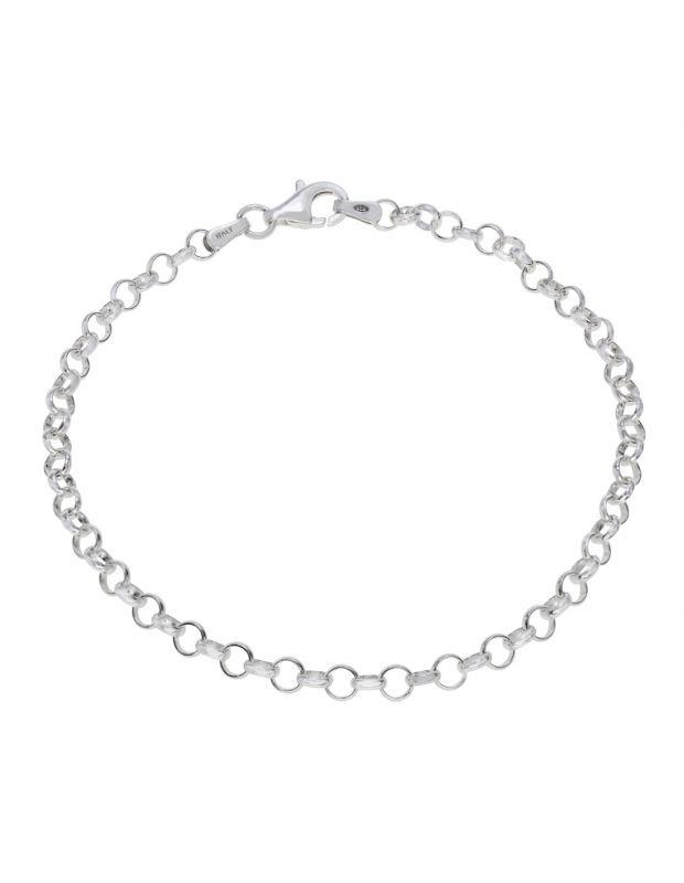 Sterling Silver 3.4mm Belcher link bracelet with lobster clasp - Click to magnify