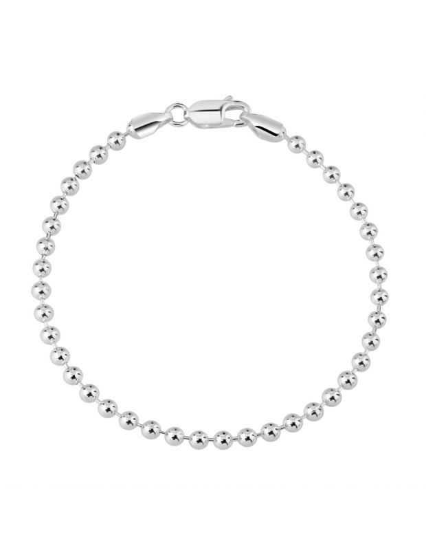 Sterling Silver 3mm Ball Bead Link Bracelet