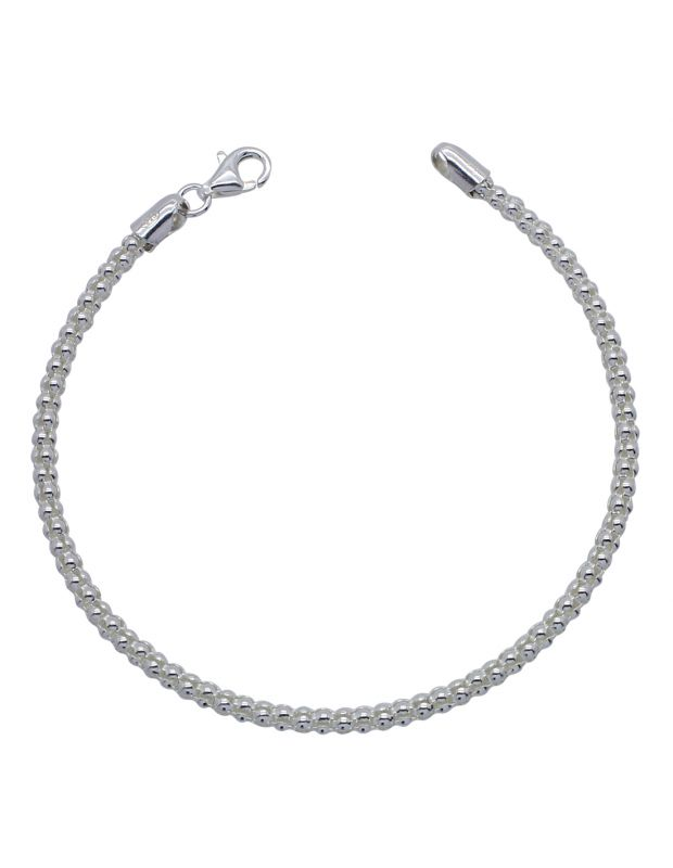 Sterling Silver 3mm Popcorn link bracelet with lobster clasp - Click to magnify