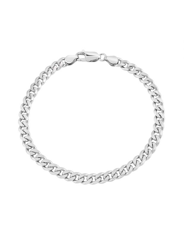 Sterling Silver 5.4mm Diamond Cut Curb Link Bracelet