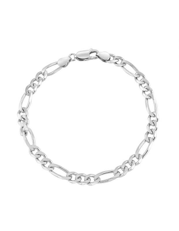 Sterling Silver 5.7mm Diamond Cut Figaro Link Bracelet