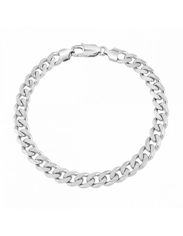 Sterling Silver 7.3mm Diamond Cut Curb Link Bracelet