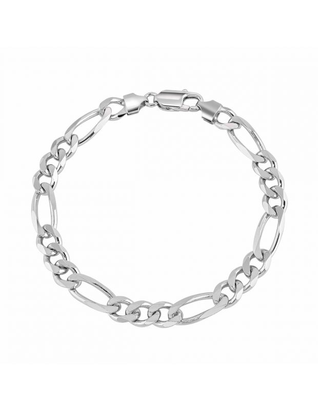 Sterling Silver 7.6mm Diamond Cut Figaro Link Bracelet
