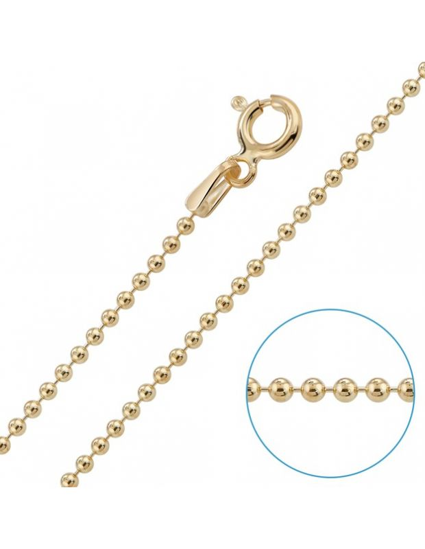 9ct Yellow Gold plated 1.5mm Ball Bead Chain