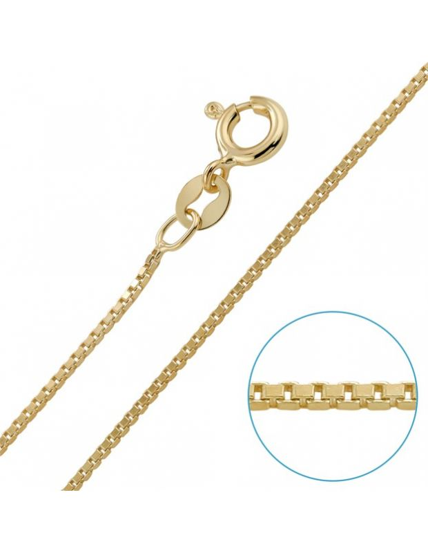 9ct Yellow Gold plated 1mm Venetian Box Chain
