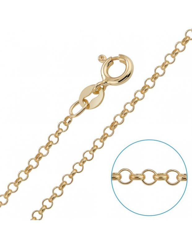 9ct Yellow Gold plated 2mm Belcher Rolo Chain
