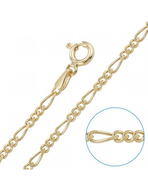 "Children's 9ct Yellow Gold plated 2mm Figaro Chain 16"" Inch"
