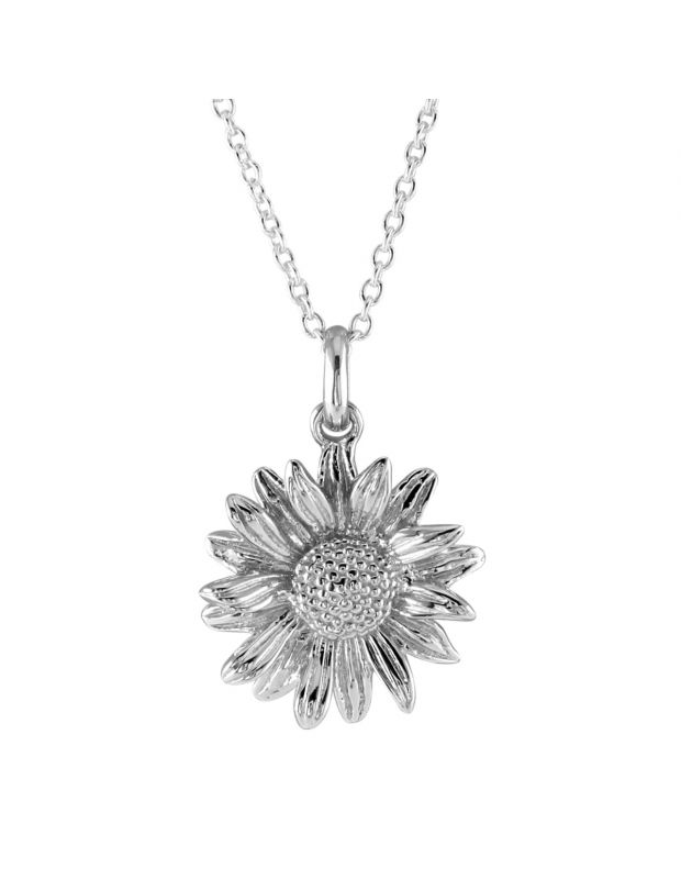 Sterling Silver SEPTEMBER ASTER Necklace with Cable Chain