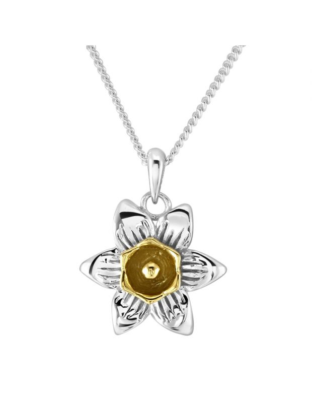 Sterling Silver Gold Plated MARCH DAFFODIL Necklace with Curb chain