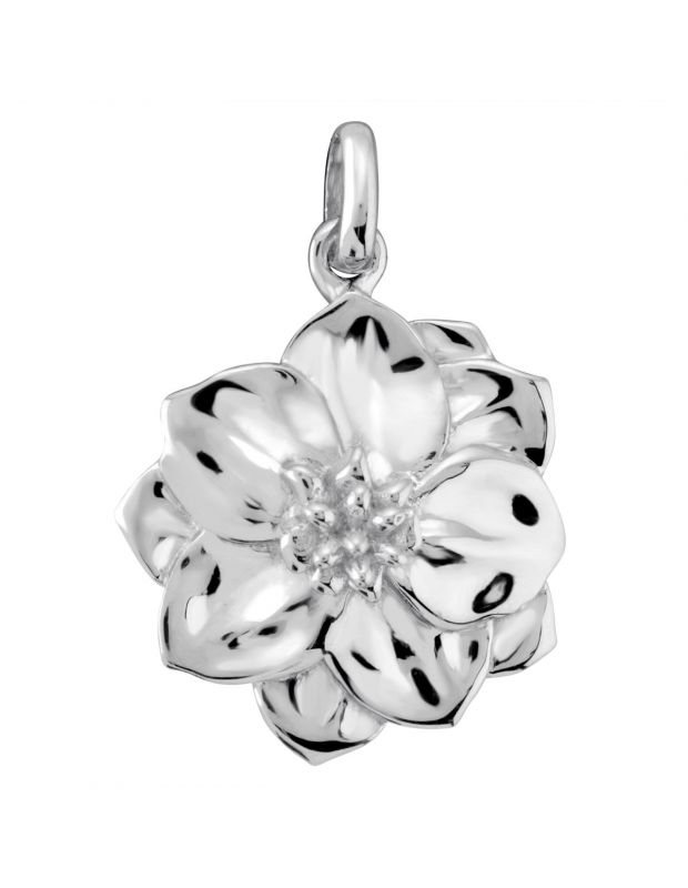 Sterling Silver Larkspur July Flower Pendant