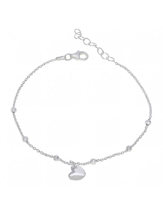 Sterling Silver Heart on Extendable Trace Link Bracelet