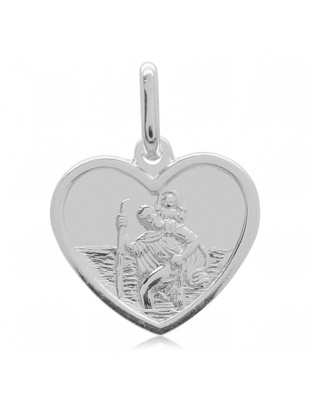 Sterling Silver Heart Shape St Christopher Pendant