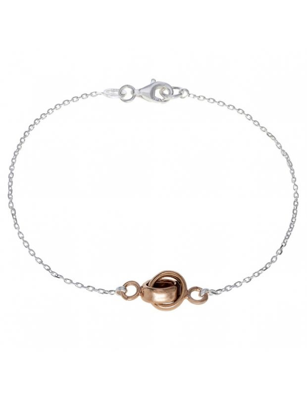 Sterling Silver Infinity Circle Knot Charm Bracelet 7.5 Inch