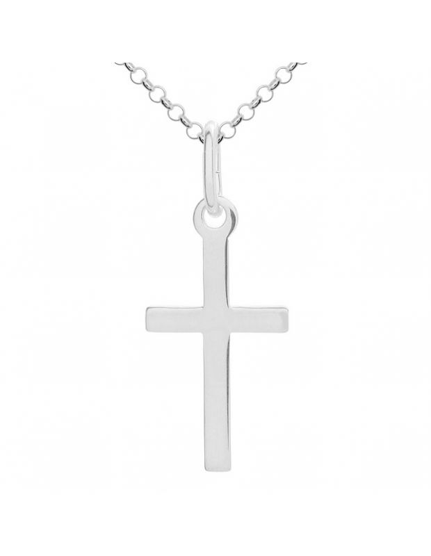 Sterling Silver plain polished large cross necklace Belcher chain pendant