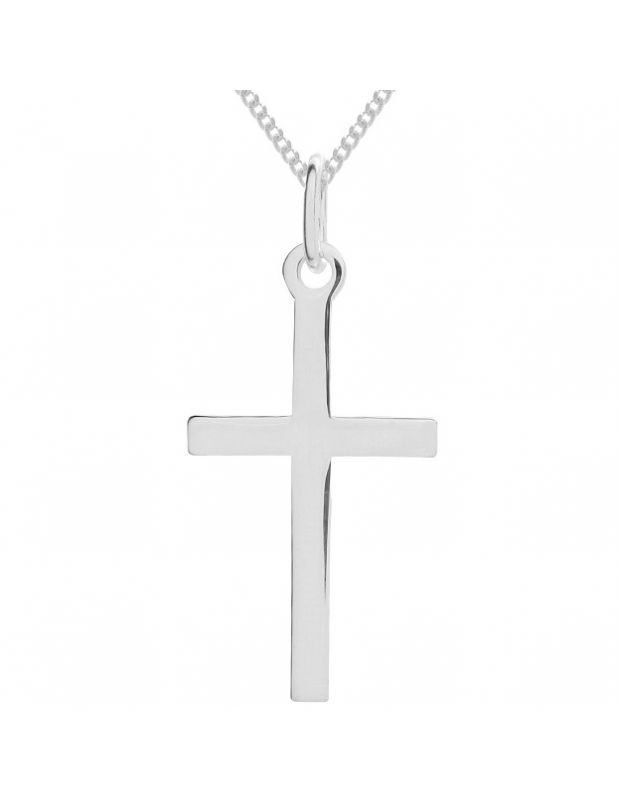 Sterling Silver plain polished large cross necklace Curb chain pendant