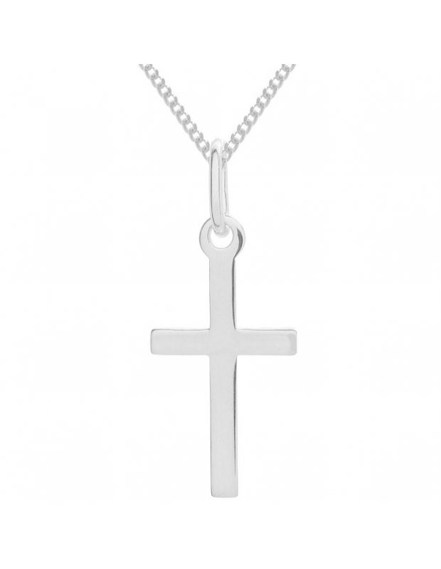 Sterling Silver plain polished medium cross necklace Curb chain pendant