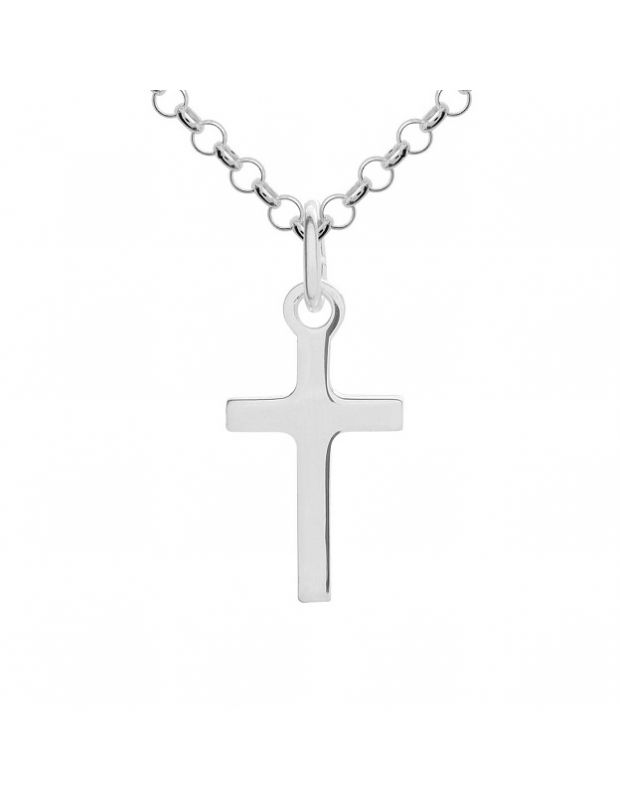 Sterling Silver plain polished small cross necklace Belcher chain pendant