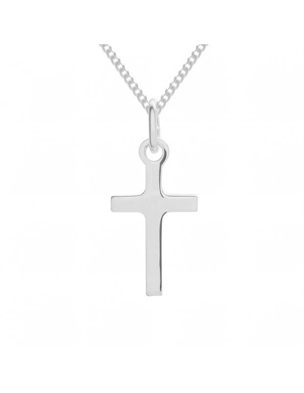 Silver necklace sterling silver chain pendant necklace thechainhut sterling silver plain polished small cross necklace curb chain pendant aloadofball Choice Image