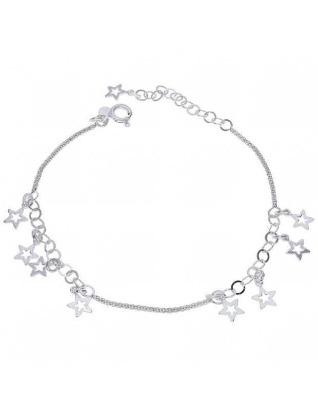 Sterling Silver Popcorn Star Charm Extendable Bracelet 7 7.5 8 Inch