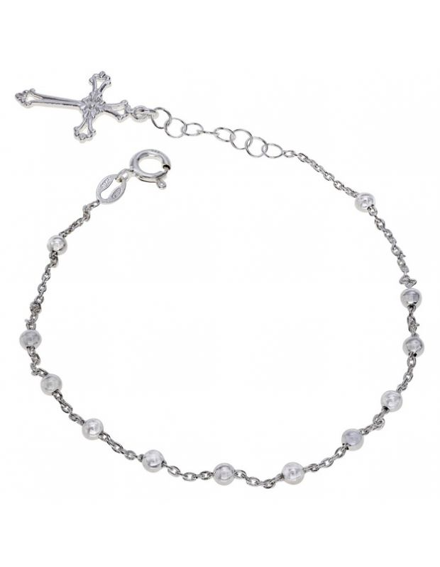 Sterling Silver Rosary Cross Beaded Trace Bracelet Extendable 7 7.5 Inch
