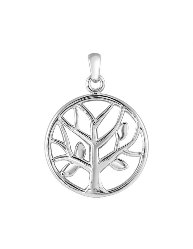 Sterling Silver Tree of Life Circular Pendant