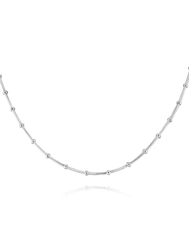 Sterling Silver Snake Chain Bobble Necklace with Disc Beads