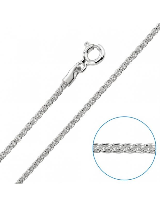 "Children's Sterling Silver 1.3mm Spiga Wheat Chain 14"" Inch"