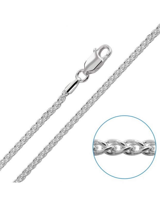 Sterling Silver 1.9mm Spiga Wheat Chain