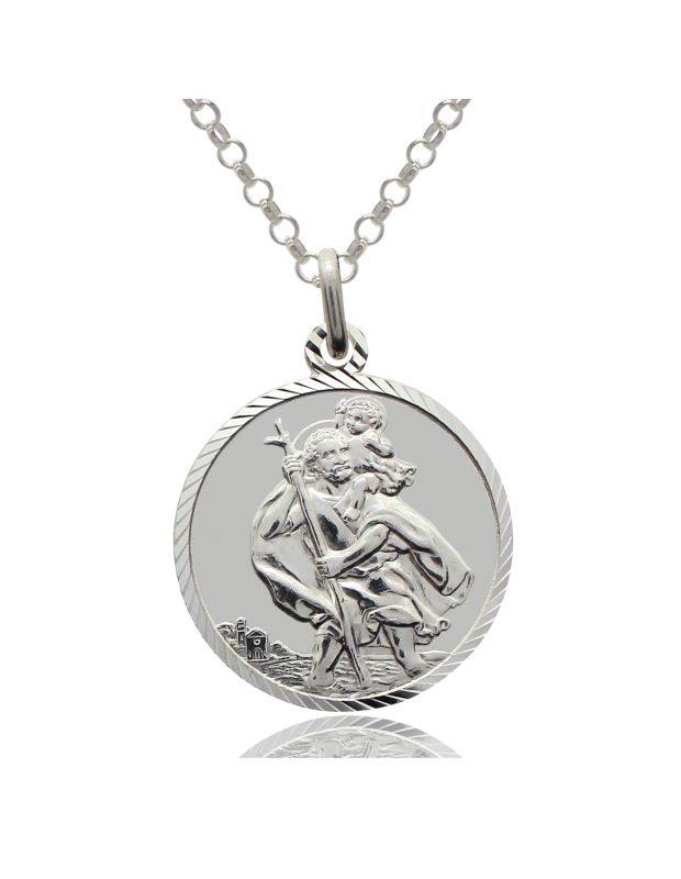Sterling Silver St Christopher Round Necklace 16mm with Ultramodern Diamond Cut and Belcher chain