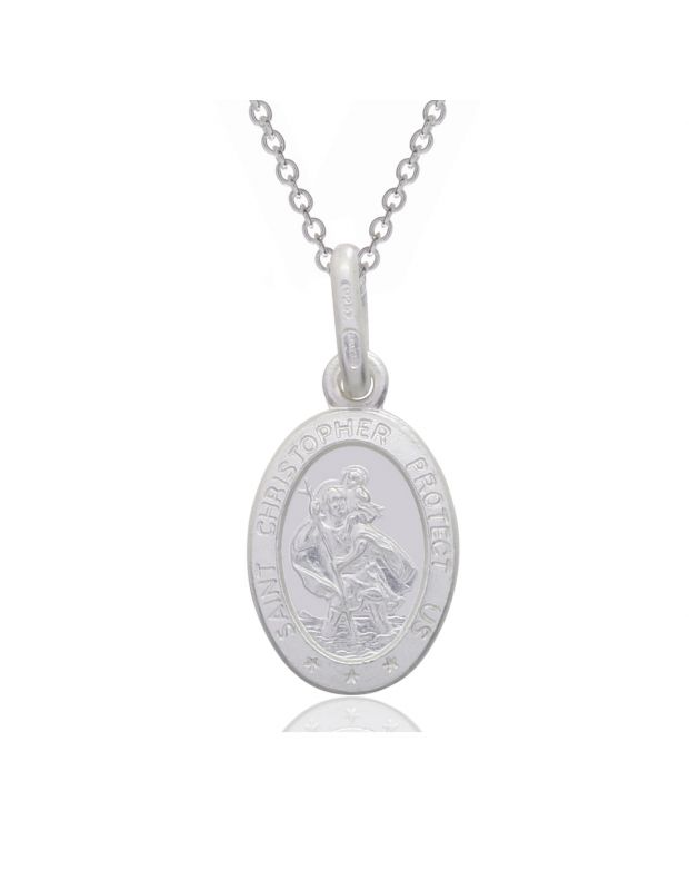 Sterling Silver St Christopher Necklace Oval 12mm Protect us message with Cable Trace chain