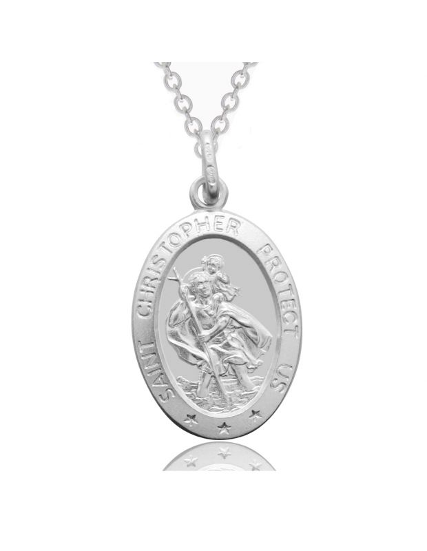 Sterling Silver St Christopher Necklace Oval 16mm Protect us message with Cable Trace chain