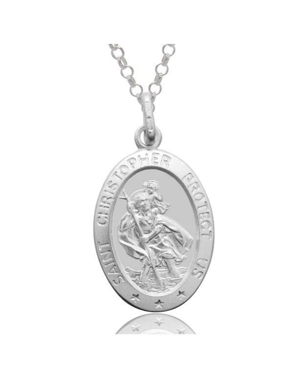 Sterling Silver St Christopher Necklace Oval 16mm Protect us message with Belcher chain