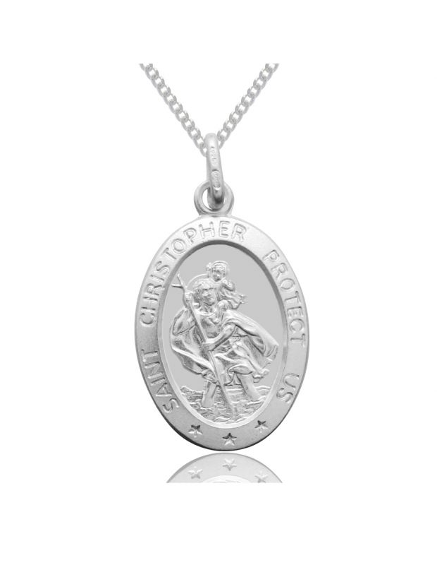 Sterling Silver St Christopher Necklace Oval 16mm Protect us message with Curb chain
