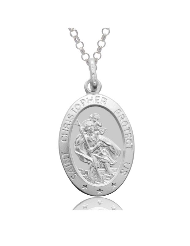 Sterling Silver St Christopher Necklace Oval 20mm Protect us message with Belcher chain