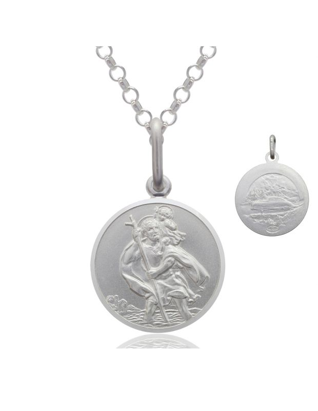 Sterling Silver St Christopher necklace 12mm Bevelled Edge double sided with Belcher chain