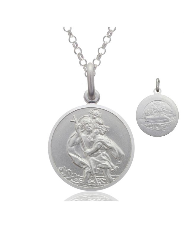 Sterling Silver St Christopher necklace 14mm Bevelled Edge double sided with Belcher chain