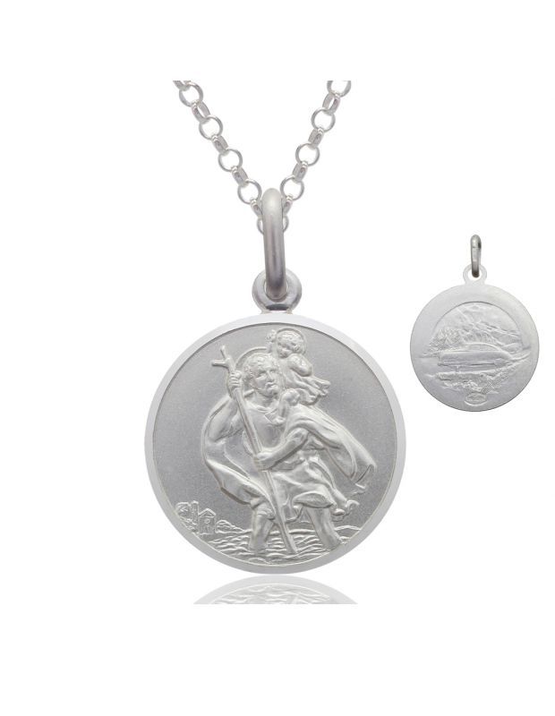 Sterling Silver St Christopher necklace 16mm Bevelled Edge double sided with Belcher chain