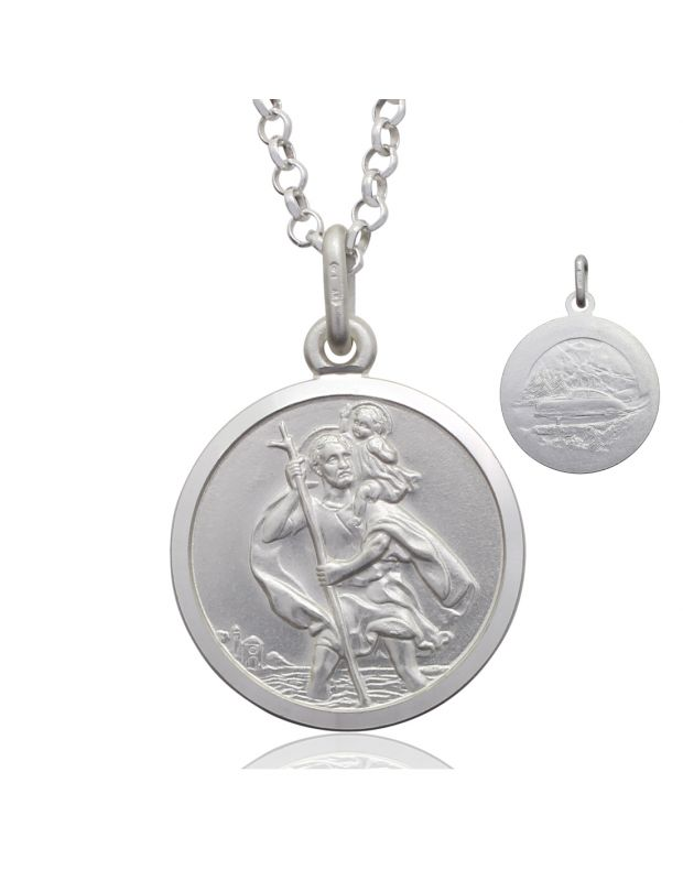 Sterling Silver St Christopher necklace 18mm Bevelled Edge double sided with Belcher chain