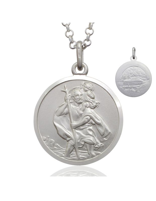 Sterling Silver St Christopher necklace 20mm Bevelled Edge double sided with Belcher chain
