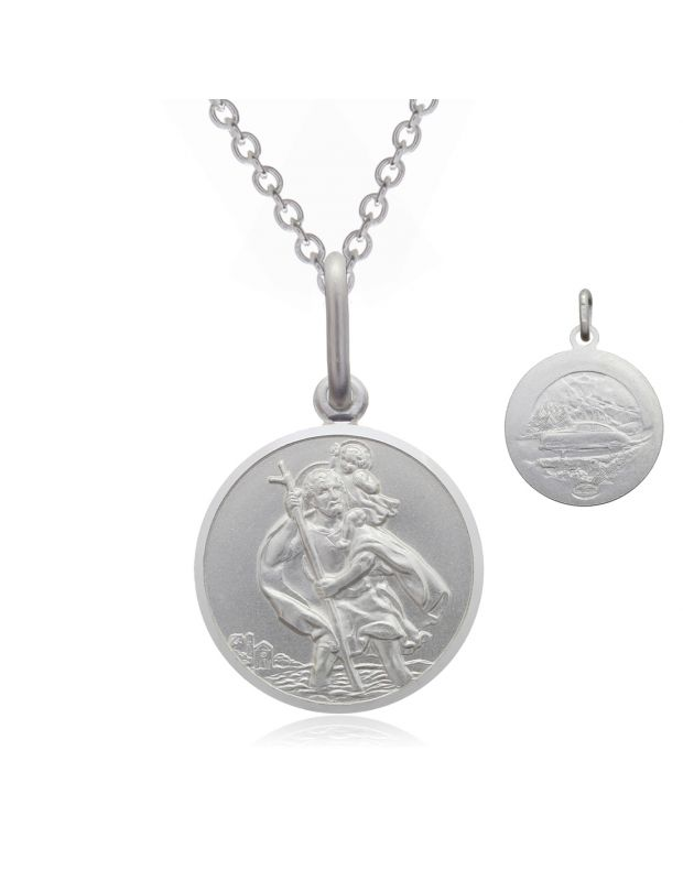 Sterling Silver St Christopher necklace 12mm Bevelled Edge double sided with Cable Trace chain