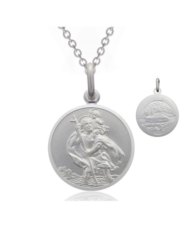 Sterling Silver St Christopher necklace 14mm Bevelled Edge double sided with Cable Trace chain