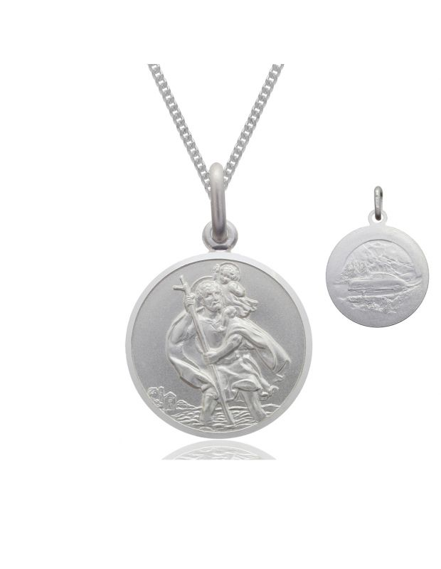 Sterling Silver St Christopher necklace 12mm Bevelled Edge double sided with Curb chain
