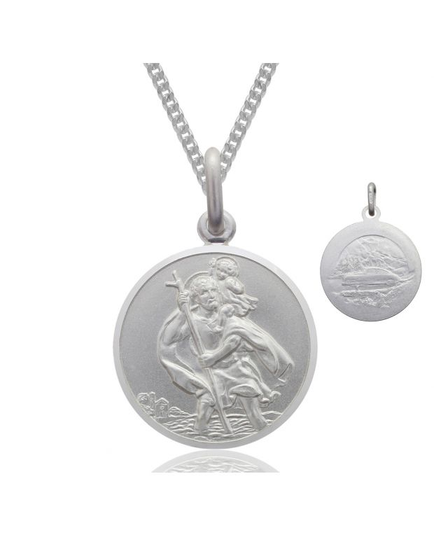 Sterling Silver 14mm St Christopher Pendant Necklace Double Sided with Curb Chain