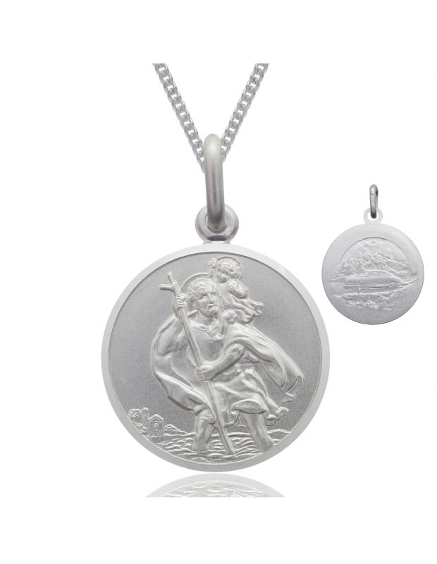 Sterling Silver St Christopher necklace 22mm Bevelled Edge double sided with Curb chain