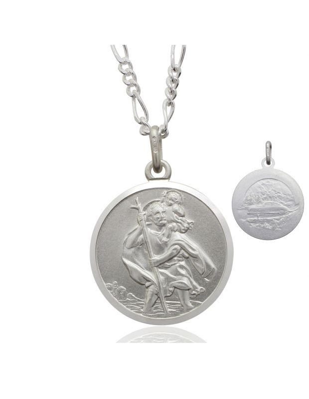 Sterling Silver St Christopher necklace 20mm Bevelled Edge double sided with Figaro chain