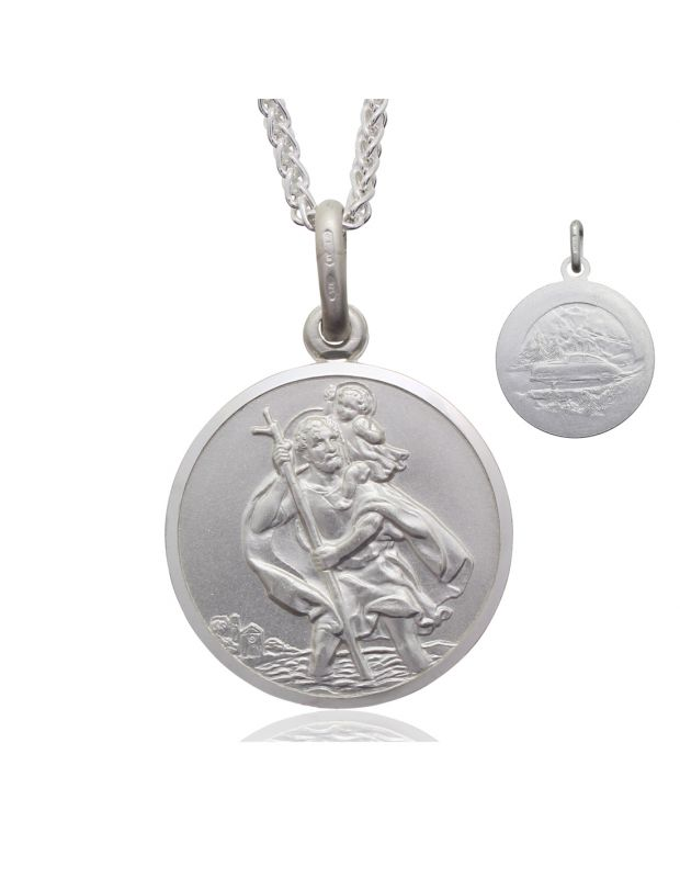 Sterling Silver St Christopher necklace 24mm Bevelled Edge double sided with Spiga Wheat chain