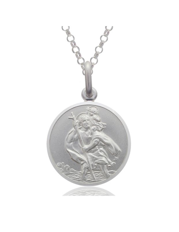 Sterling Silver St Christopher necklace 14mm Round Bevelled Edge with Belcher chain